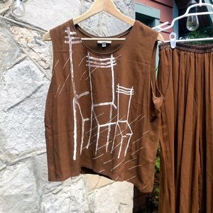 Vintage brown matching set with elastic, M